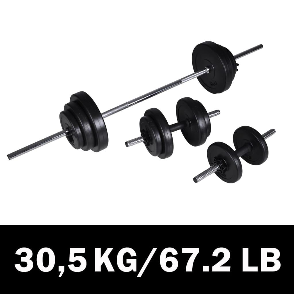 vidaXL Kézi súlyzó + 2 Súlyzó készlet 30, 5 kg