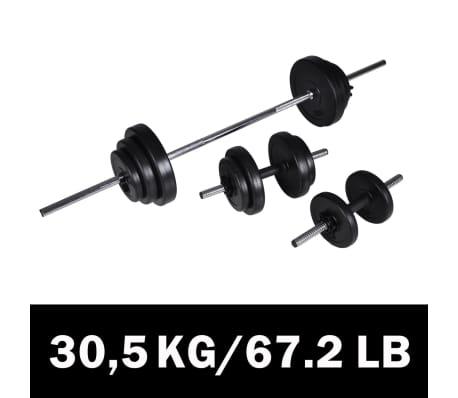 30,5kg Langhantel Kurzhantel Hantelset Gewichtscheiben
