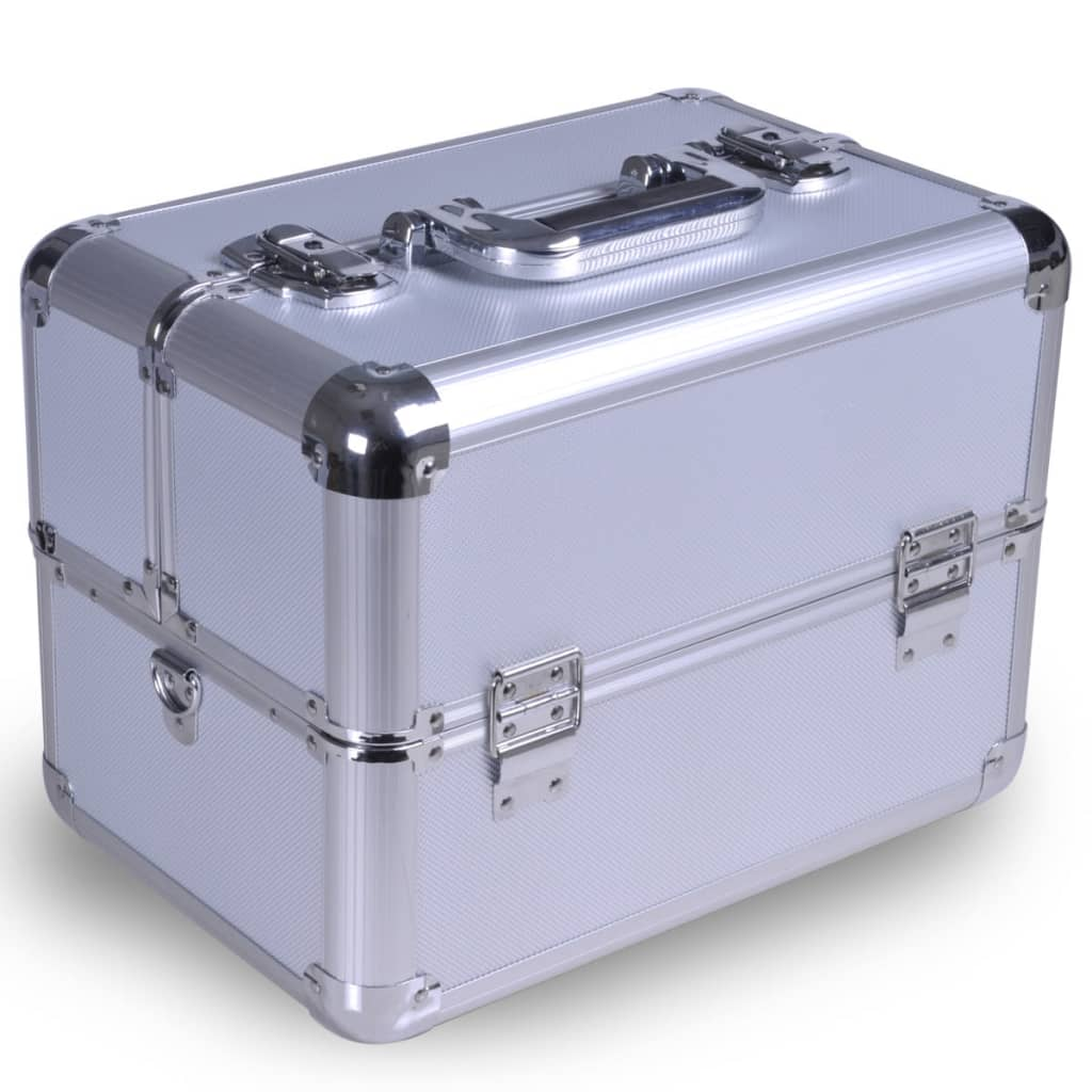 aluminum jewelry box cosmetic bag makeup case silver. Black Bedroom Furniture Sets. Home Design Ideas