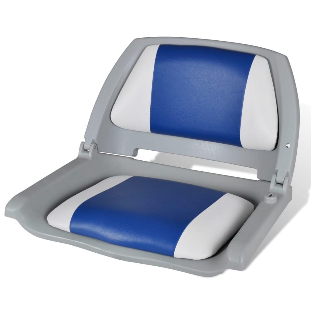 vidaXL Boat Seat Foldable Backrest With Blue-white Pillow 41 x 51 48 cm