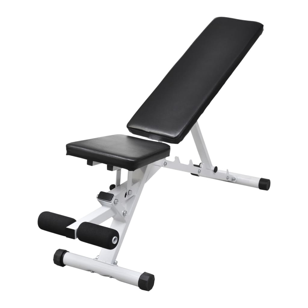 Fitness Workout Utility Bench Adjustable Back With Leg Curl
