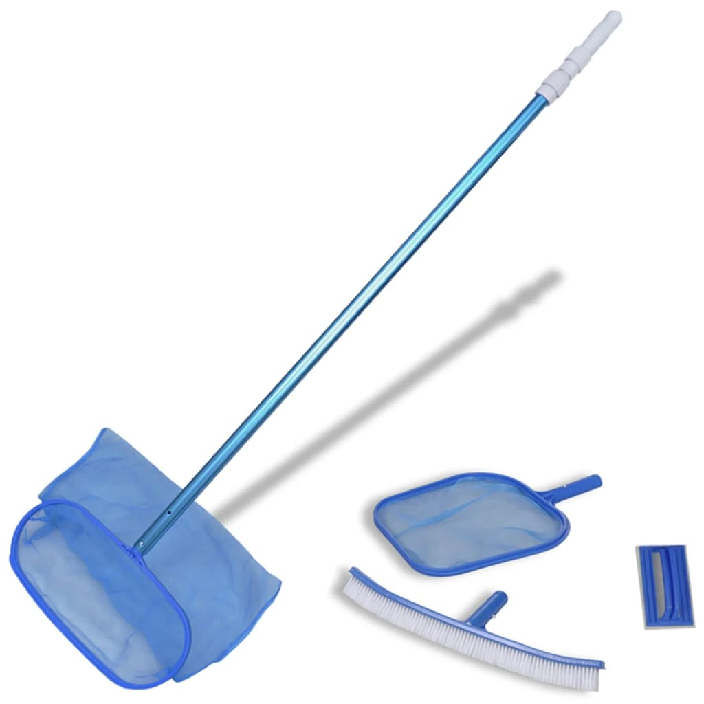 Pool cleaning set brush 2 leaf skimmers 1 telescopic pole for Accessoire de piscine