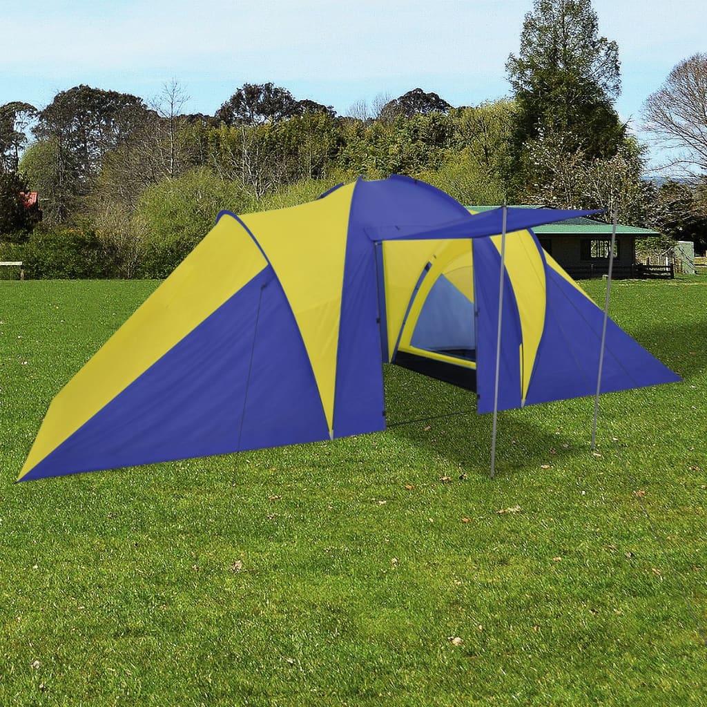 vidaXL Kampeertent 6-Persoons Blauw/Geel Kampeer Camping Tent Tenten Cabinetent