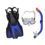 Diving Set Snorkel Fins Mask Blue for Kids 30 - 34