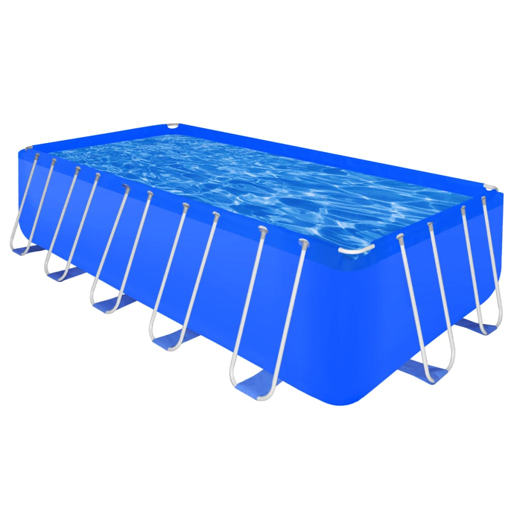 vidaXL Above Ground Swimming Pool Steel Rectangular 17' 9...