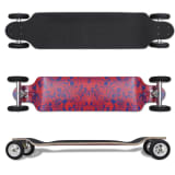 Red Drop-down Longboard 103 cm with Big Wheels
