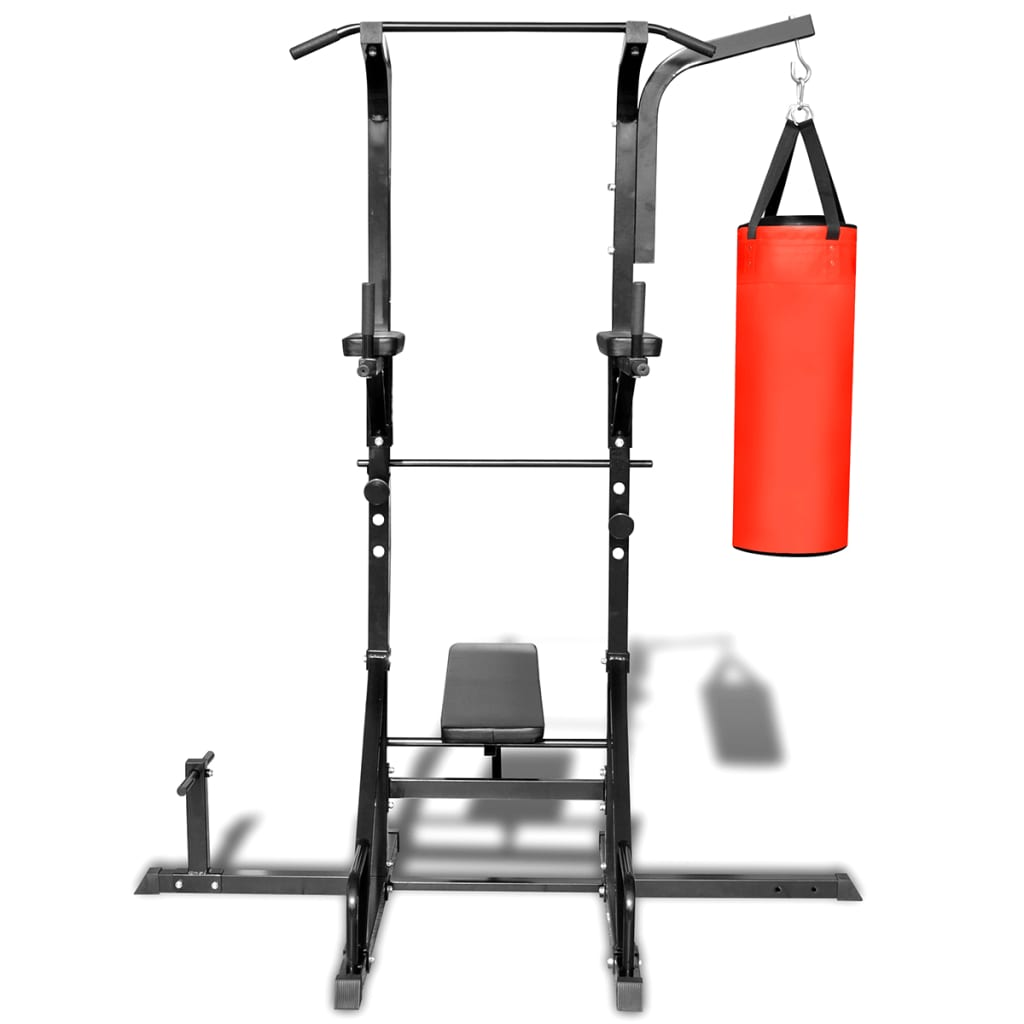 power tower with sit up bench and boxing bag