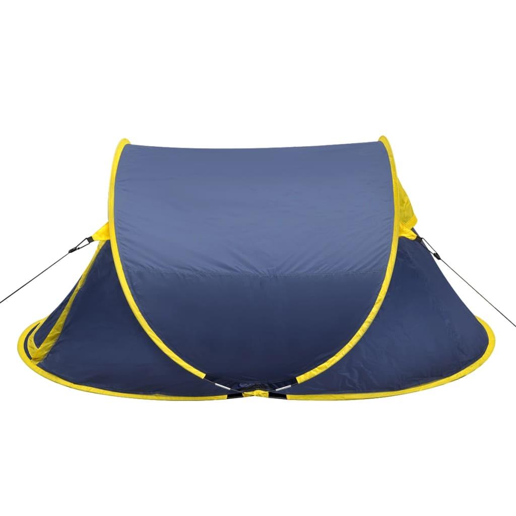 der faltbares zelt f r 2 personen marineblau gelb online. Black Bedroom Furniture Sets. Home Design Ideas