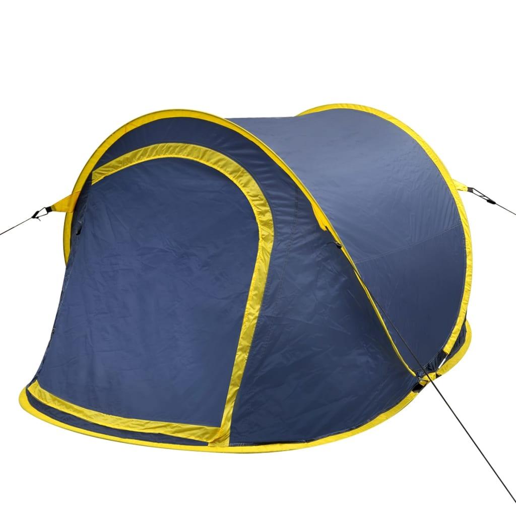 vidaXL 2 Személyes pop up sátor sötétkék / sárga