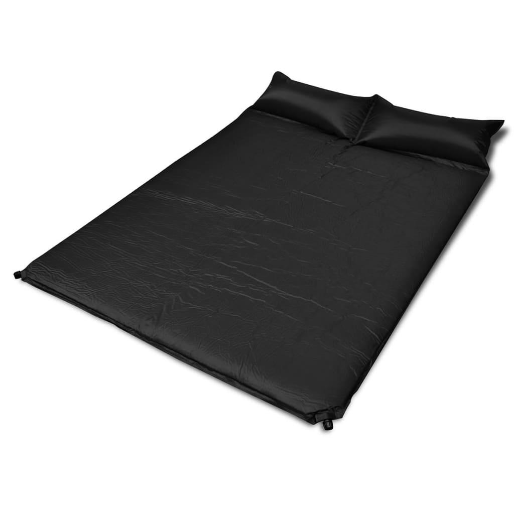 vidaXL Fekete önfelfújós matrac 190 x 130 5 cm kétszemélyes