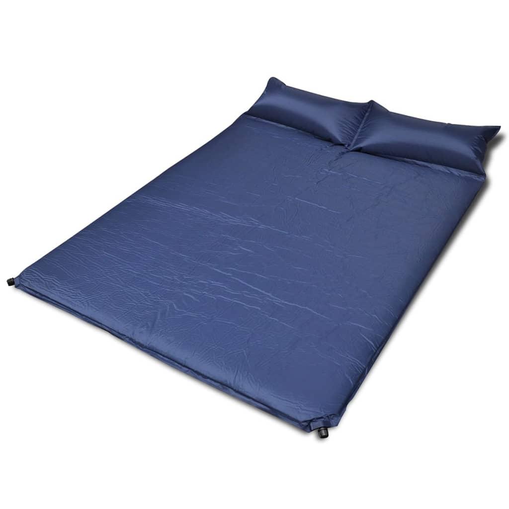 vidaXL Kék önfelfújós matrac 190 x 130 5 cm kétszemélyes