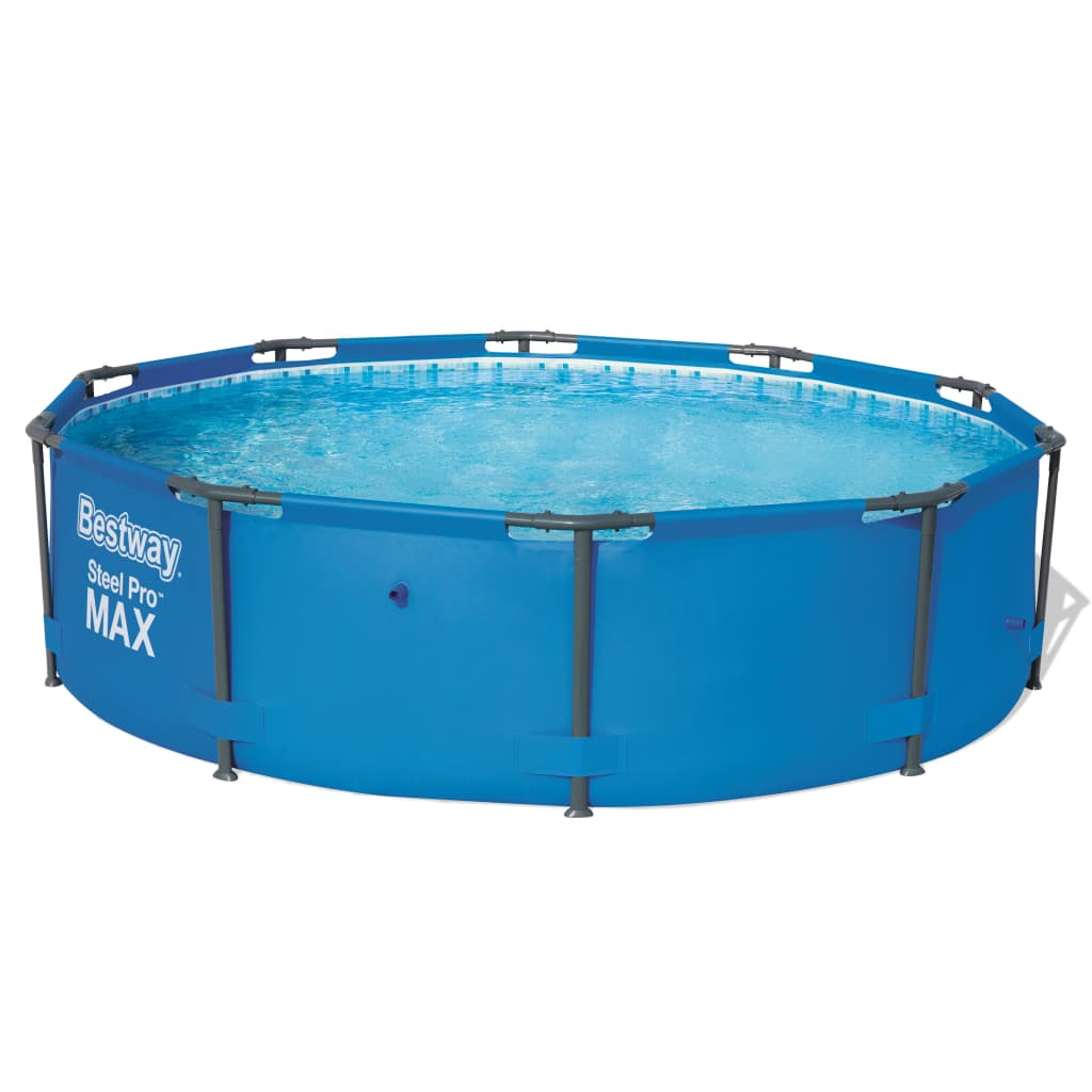 New Bestway Round Swimming Pool Steel Frame 2 Sizes Selectable Blue Backyard Ebay