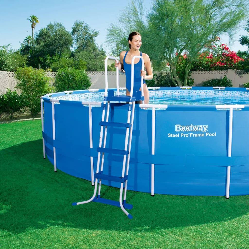 Bestway steel pro round steel frame swimming pool set for Pool set aktion
