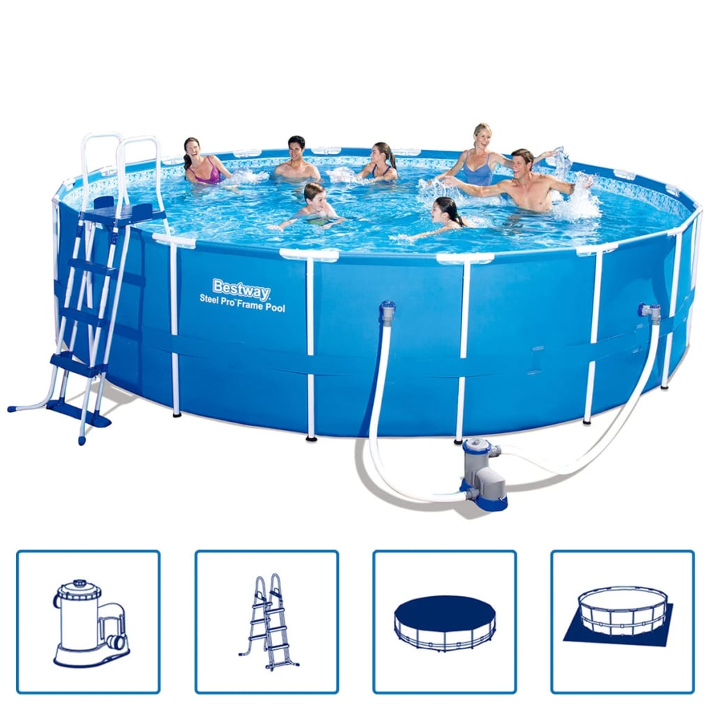 Bestway steel pro round steel frame swimming pool set for Bestway piscine