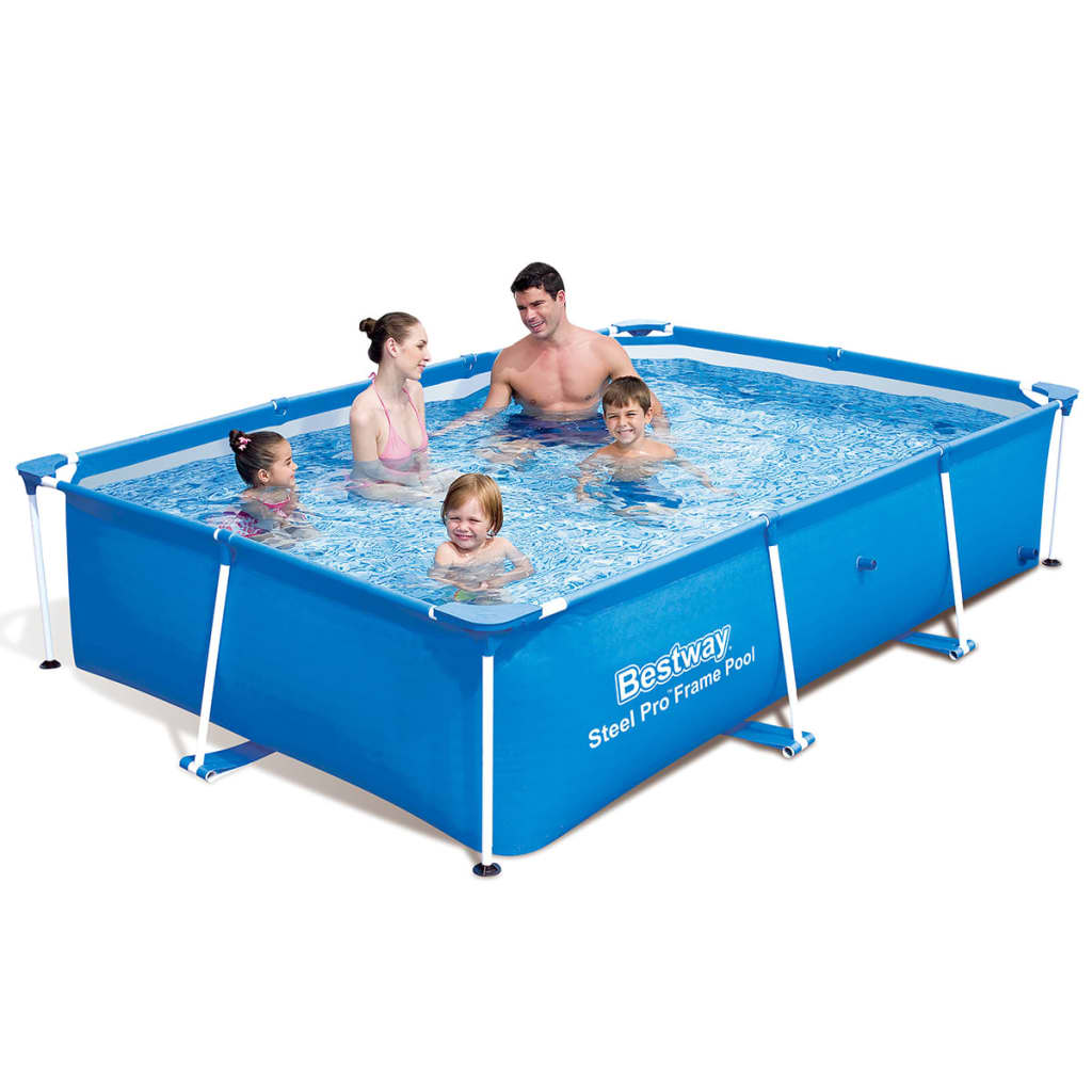 new bestway rectangular swimming pool with steel frame 2 sizes blue backyard. Black Bedroom Furniture Sets. Home Design Ideas