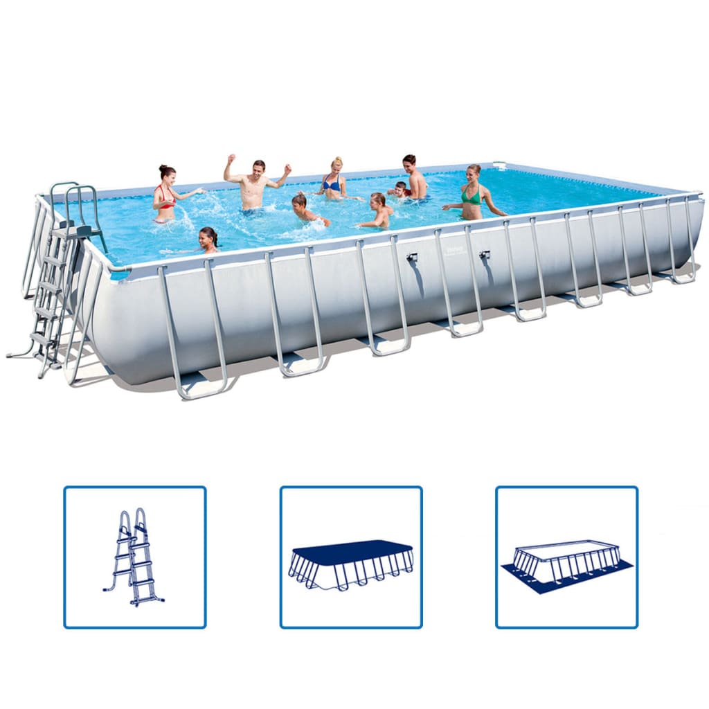 Bestway power steel rectangular swimming for Bestway piscine service com