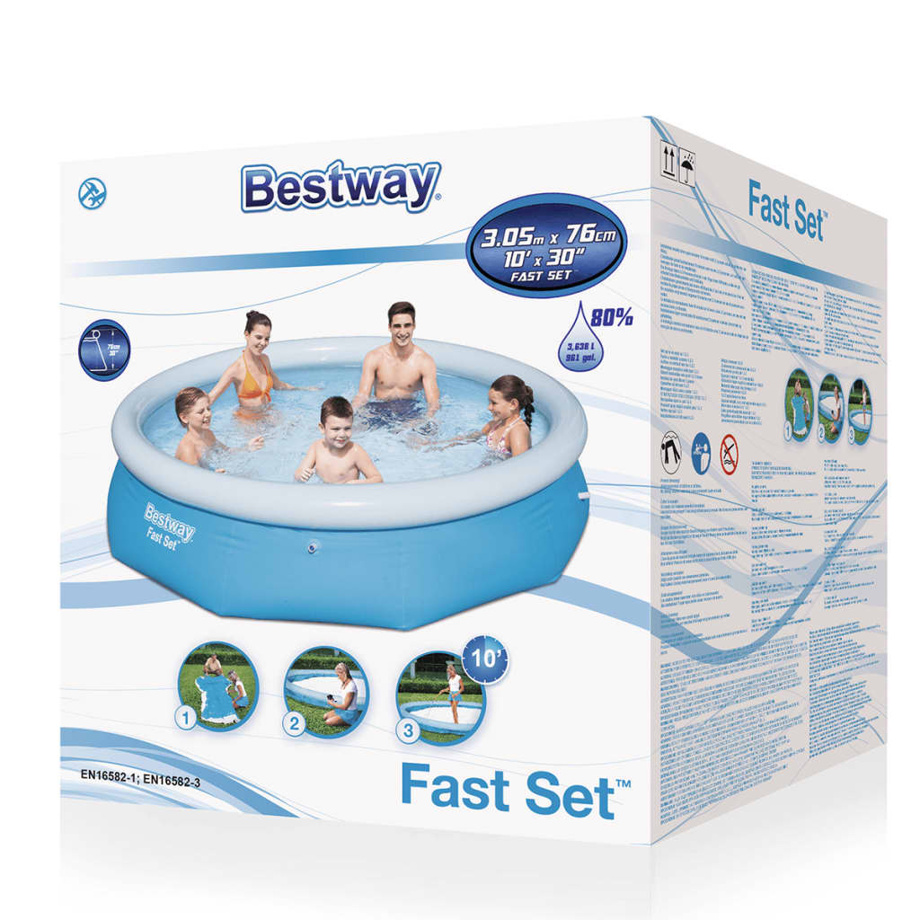 Acheter piscine gonflable ronde bestway fast set pas cher for Bestway piscine