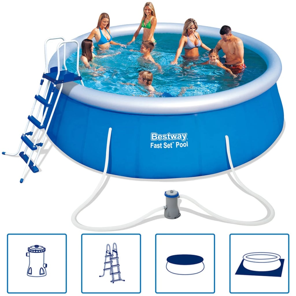 Piscina redonda hinchable bestway fast set 457 x 122 cm for Piscina 457 x 122
