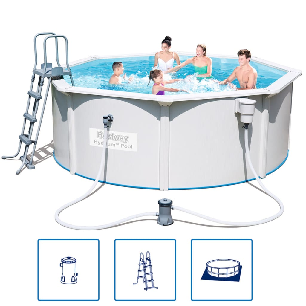 Der bestway hydrium stahlrahmen swimming pool set rund 360 for Garten pool bestway
