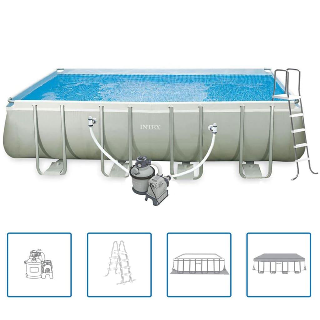 intex ultra frame rechteckiger pool set 549 x 274 x 132 cm 28352gn zum schn ppchenpreis. Black Bedroom Furniture Sets. Home Design Ideas