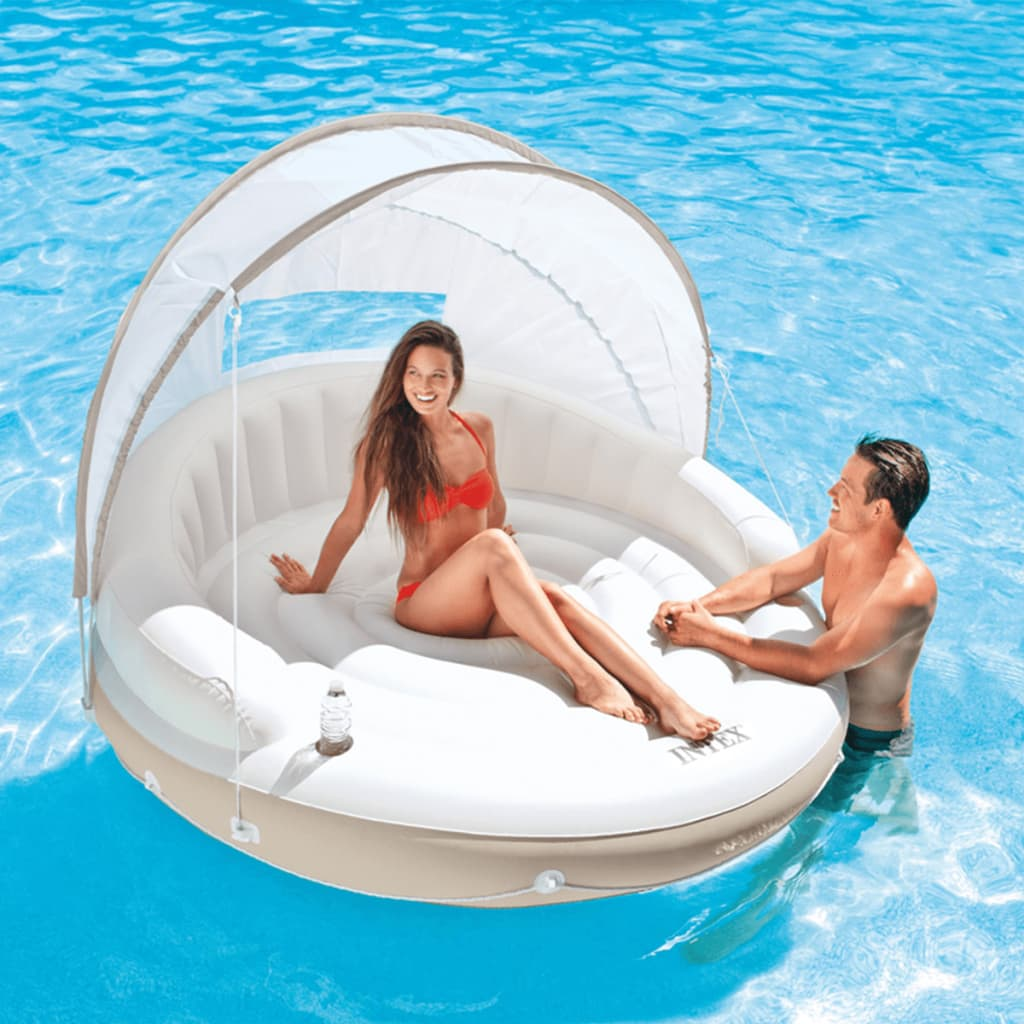 Intex canopy island opblaasbaar loungebed 199 for Intex webshop