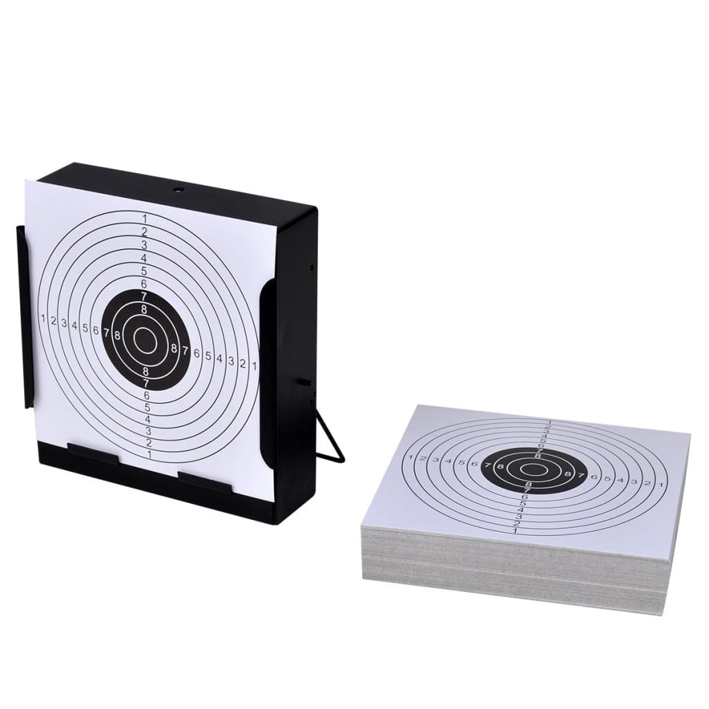 vidaXL Négyszög alakú lövedékgyűjtős lőlaptartó 14 cm + 100 db lőlap
