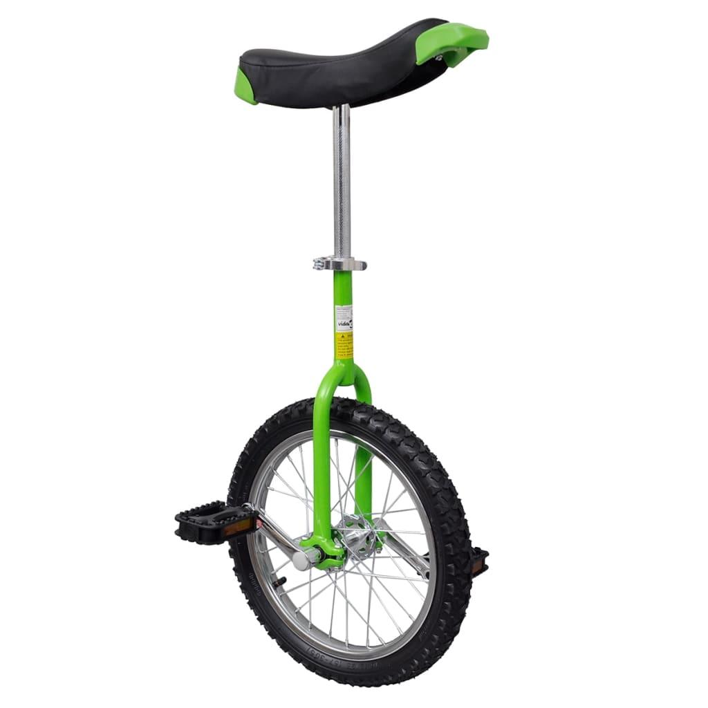 vidaXL Zöld állítható egykerekű kerékpár 16 colos
