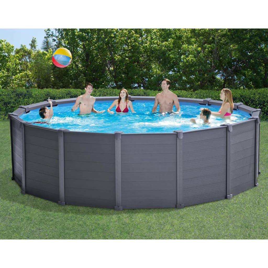 Intex piscine avec panneau 28382gn 478 cm pvc 16805 l for Piscine graphite intex