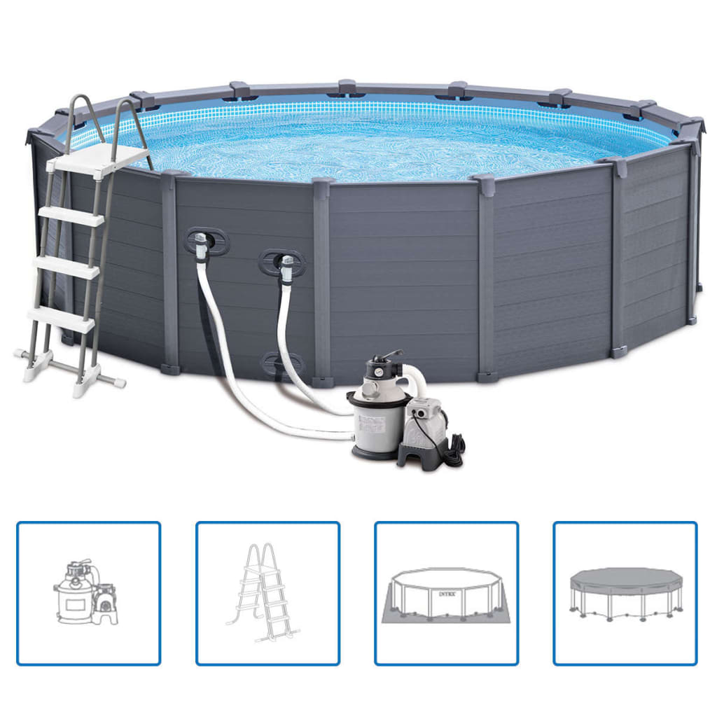 Intex piscine avec panneau 28382gn 478 cm pvc 16805 l for Piscine intex graphite