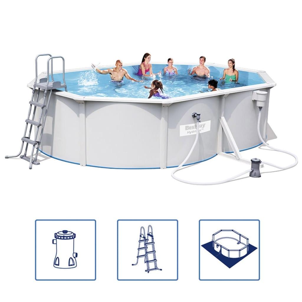 Acheter bestway jeu de piscine 56583 avec adre en acier for Piscine acier solde