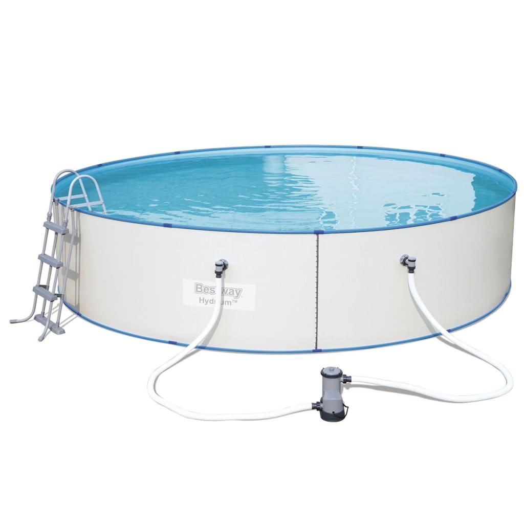 Bestway set piscina hydrium rotonda con telaio in acciaio for Piscina rotonda