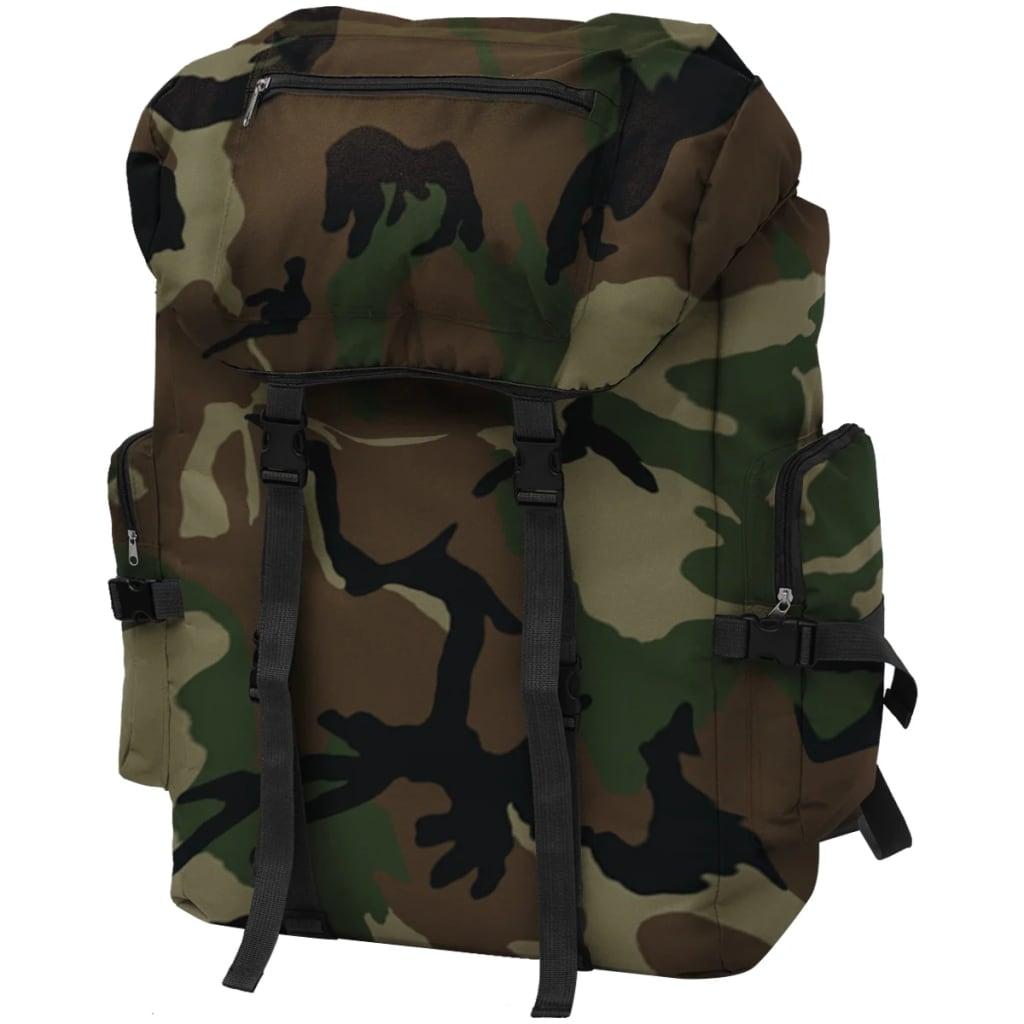 vidaXL katona stílusú hátizsák 65 L kamuflázs mintás
