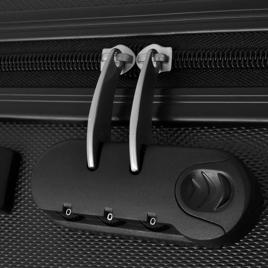 vidaxl 3 tlg hartschalen reisekoffer set trolley schwarz g nstig kaufen. Black Bedroom Furniture Sets. Home Design Ideas