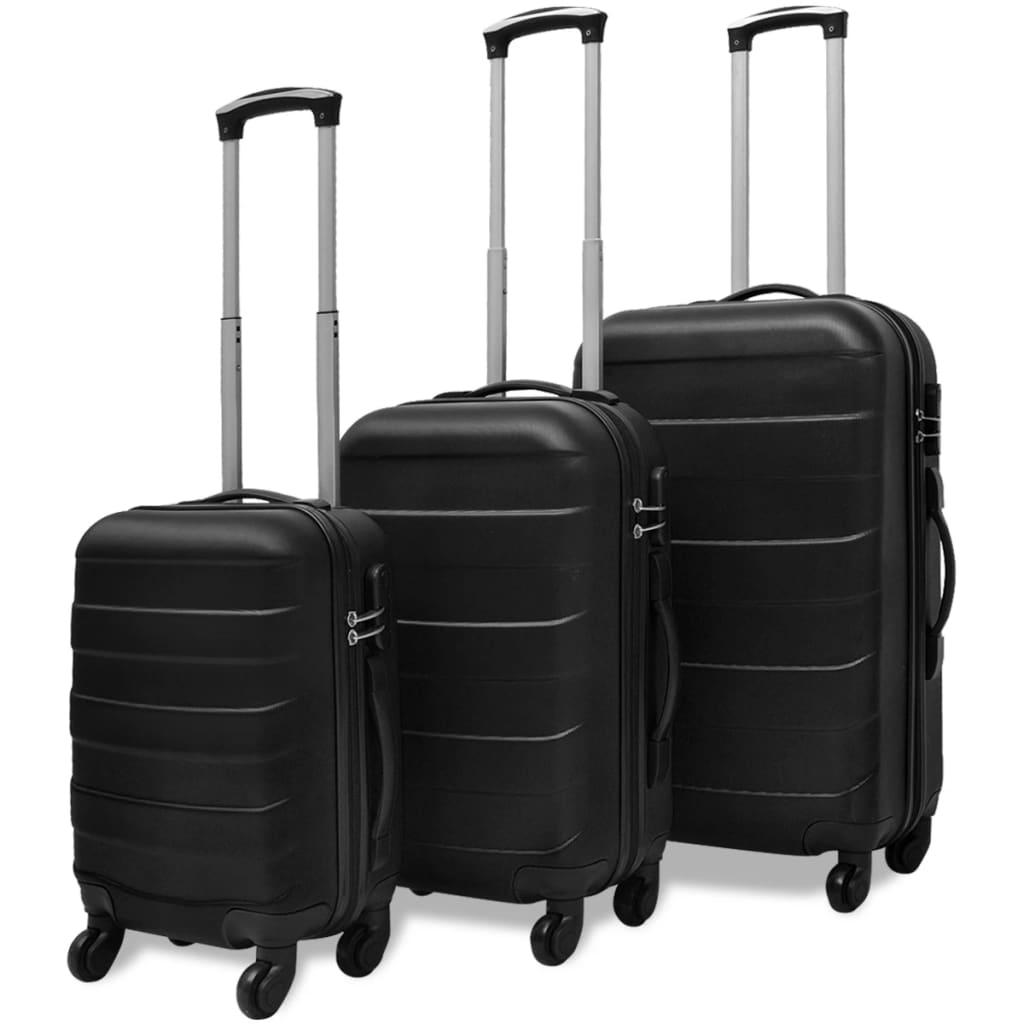 vidaXL 3 darabos kemény borítású utazó táska szett fekete