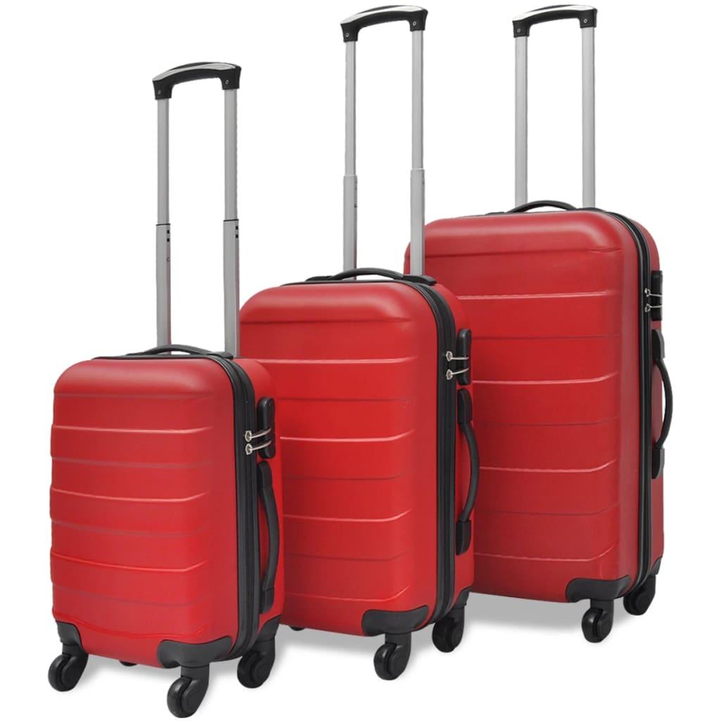 vidaXL 3 darabos kemény borítású utazó táska szett piros