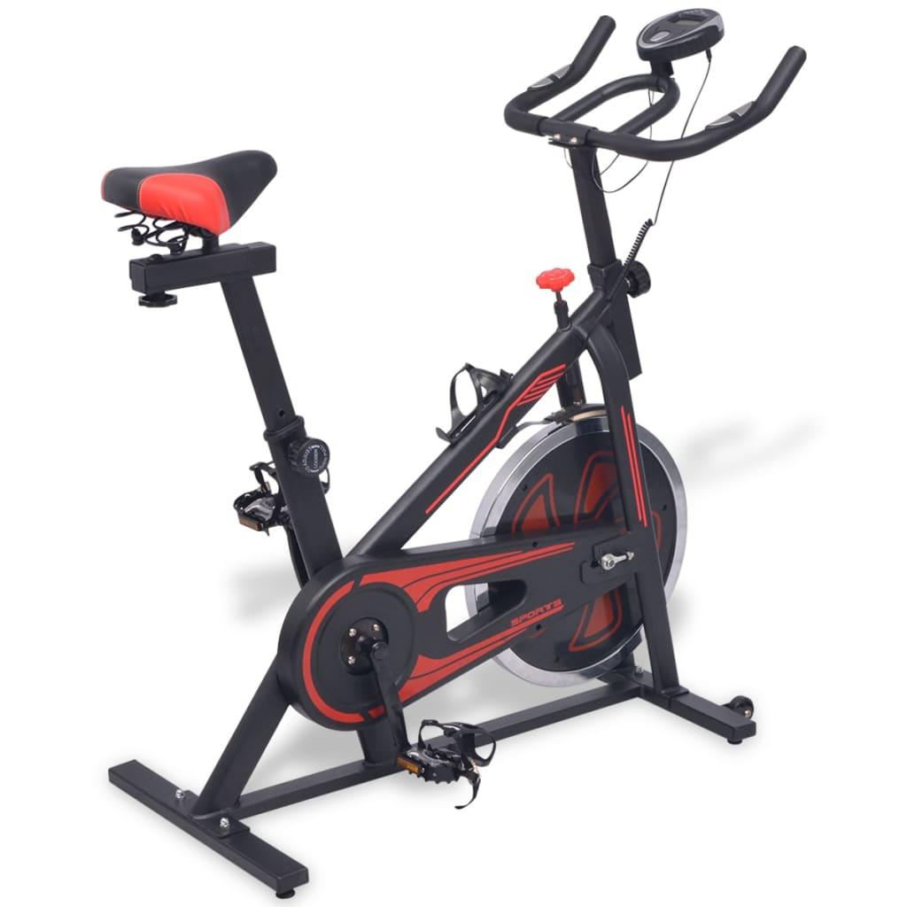 vidaXL motionscykel med pulssensor sort og rød