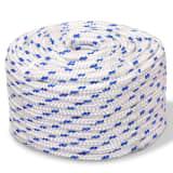 vidaXL Námořní lodní lano, polypropylen, 10 mm, 50 m, bílá