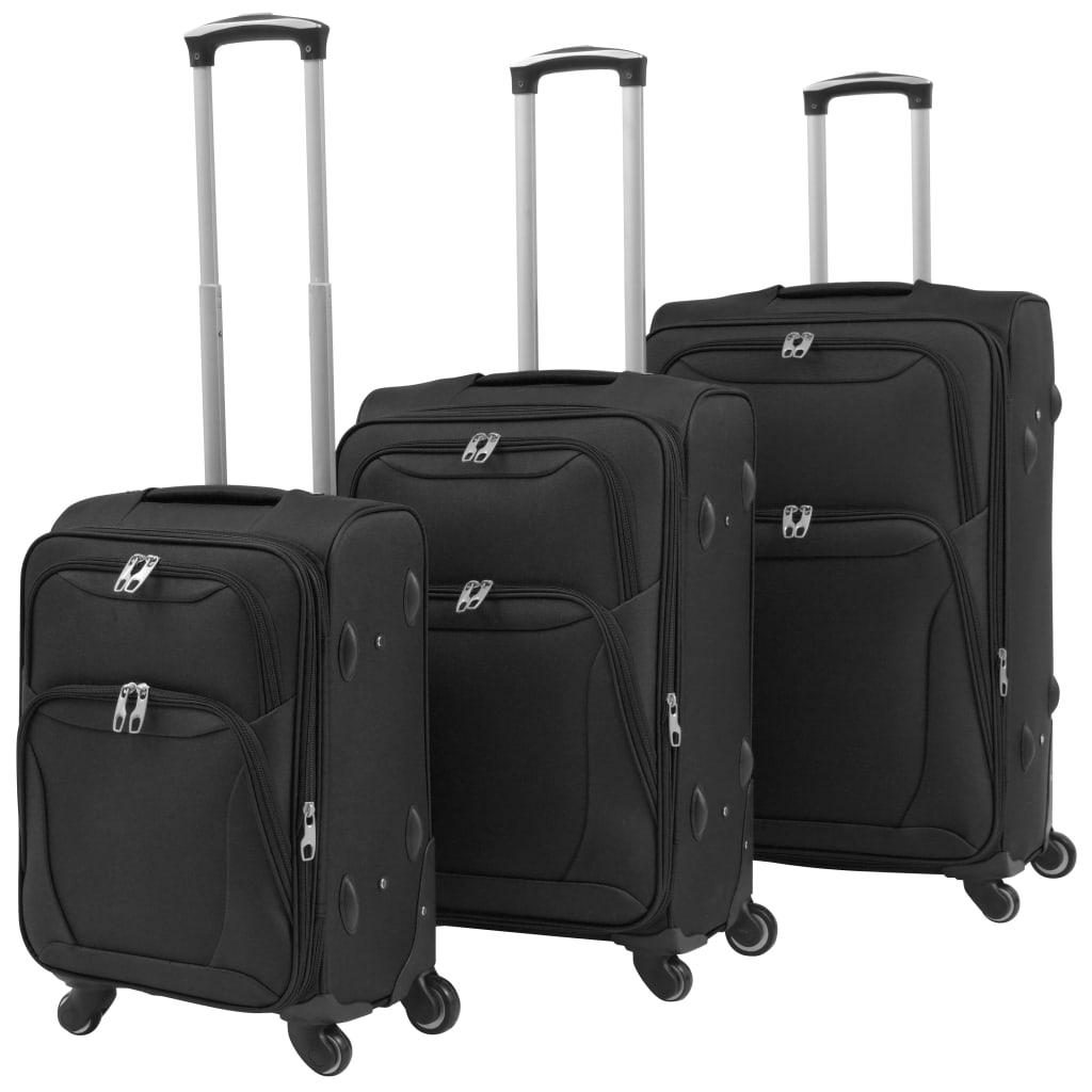 vidaXL 3 darabos, fekete, puha falú görgős bőrönd szett