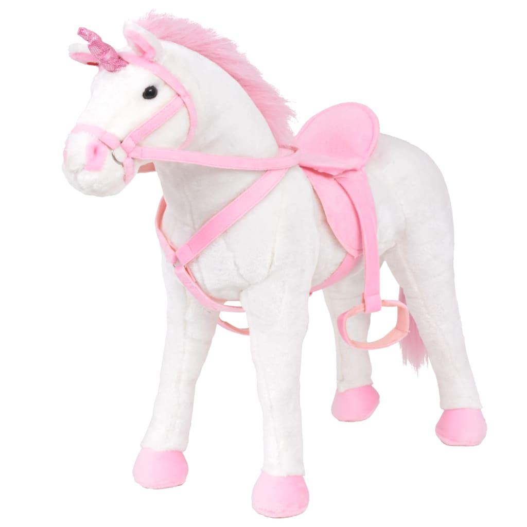 vidaXL álló, fehér és pink plüss-egyszarvú XXL