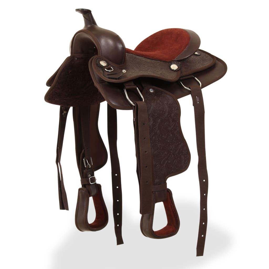 vidaXL barna valódi bőr western nyereg, kötőfék és nyakhám 12
